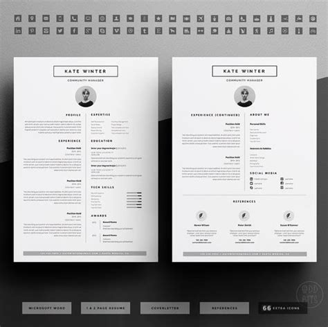 Minimalist Resume Font by Minimalist Resume Template Cover Letter Icon Set For Microsoft Word 3 Page Pack