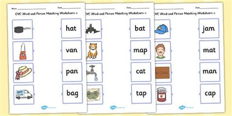 cvc word  picture matching worksheets  reading
