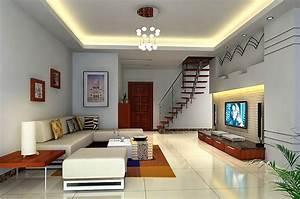 Hidden light design in living room ceiling d house
