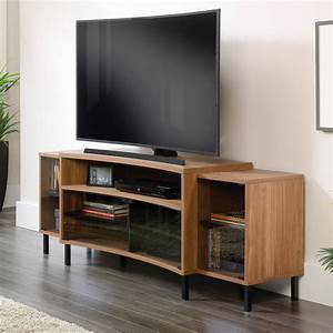 Sauder curved entertainment credenza media furniture for Hometown furniture exchange