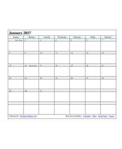 sample daily calendar templates  ms word