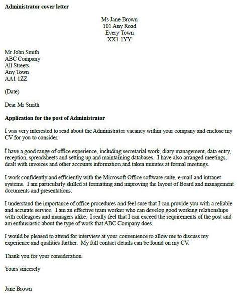 free cv cover letter exles uk administrator cover letter exle icover org uk
