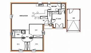 plan maison plain pied 90m2 systembaseco With plan maison t4 plain pied