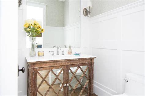board  batten powder room  mirrored vanity