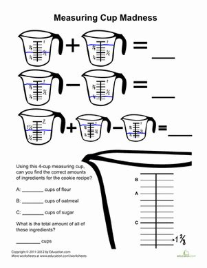 Use different measures such as teaspoons, cups, and pints. Measuring Cups Madness | Worksheet | Education.com