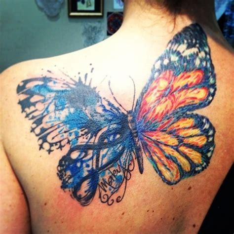 amazing watercolor butterfly tattoo  upper