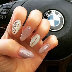 My fav so far Stiletto style gel extensions in beige and off white white rose gold lines and ...