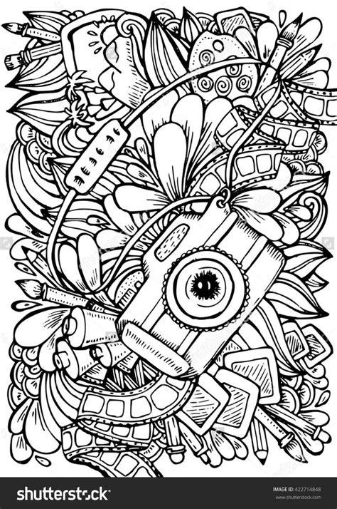 vector hand drawn pattern anti stress coloring book page  adult photo camera brush pencil