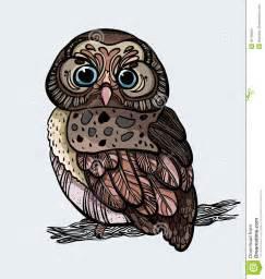 Cartoon Owl Sitting On Branch