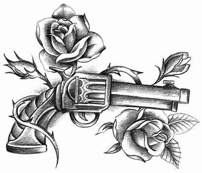 Tattoo Rose Roses Gun Flash Drawings Diamond