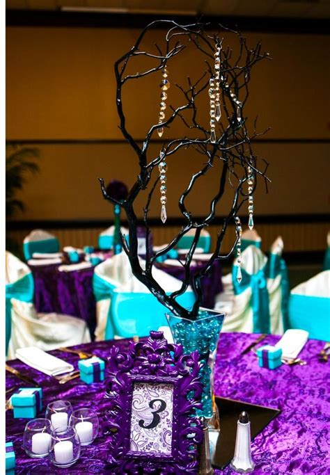 purple and turquoise wedding decorations