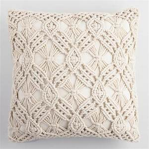 Natural Macrame Indoor Outdoor Throw Pillow World Market