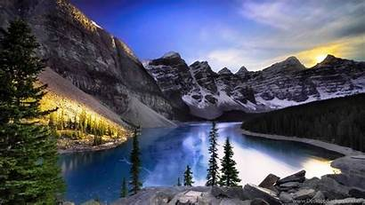 Canada Lake Moraine Resolution Mountain Forest Wallpapers