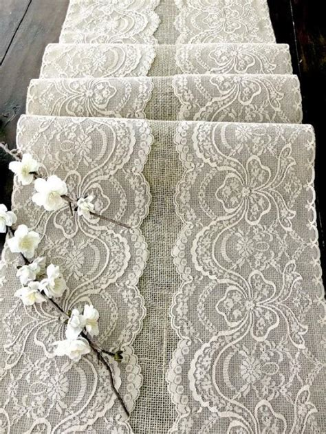 wedding table cloth runners wedding table runner with beige lace rustic chic wedding