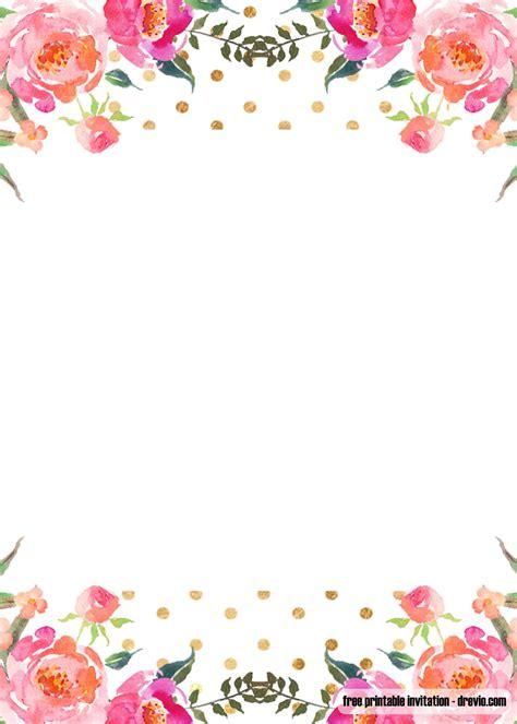 FREE Pink Floral Invitation Templates FREE Printable