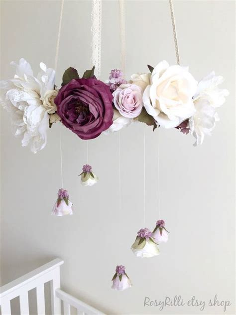picture of diy floral mobile royal purple nursery flower mobile crib mobile baby girl mobile purple baby mobile floral