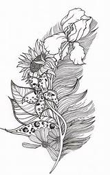 Coloring Feather Adult Tattoo Pages Tattoos Stencils Feathers Adults Designs Books Awesome Leaf Drawings Printable Mandala Leaves Stencil Blackwork Crafts sketch template