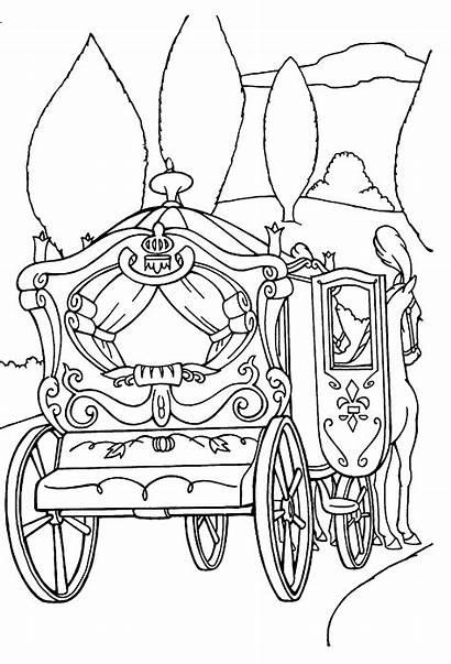 Cinderella Coloring Carriage Carruagem Disney Princesa Colorir