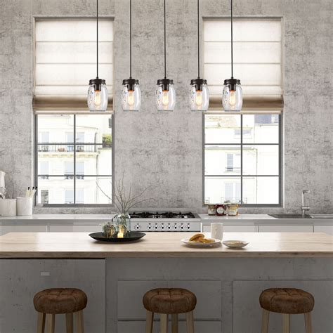 lnc  glass mason jar kitchen island lighting multi
