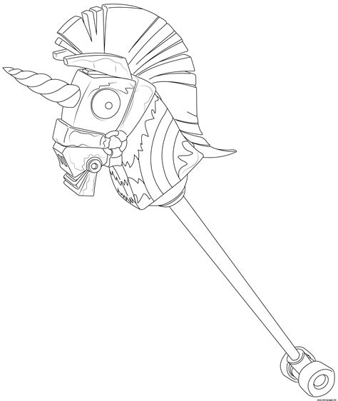 rainbow smash pick axe fortnite hd coloring pages printable