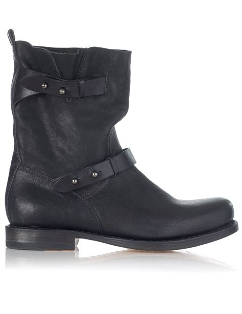 womens black leather moto boots rag bone black leather moto boots in black lyst