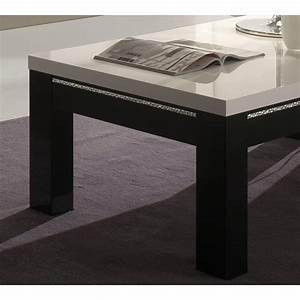 Table Basse Blanche Rectangulaire : table basse rectangulaire design laqu e blanche et noire darma ~ Melissatoandfro.com Idées de Décoration