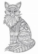 Coloring Adult Adults Fox Zentangle Animal Colouring Books Mandala Sheets Animals Printable Hard Therapy Mara Disegni Michael Detailed Strawberry Grown sketch template