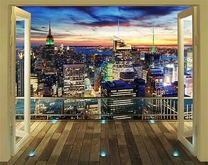 Walltastic fototapete new york skyline bei nacht for Balkon teppich mit new york city tapete