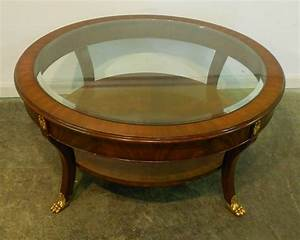 Furniture round varnished solid wooden roller coffee for Glass inlay coffee table