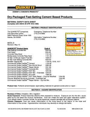 Concrete Mix Design Form by Sakrete Mix Design Submittal Fill Online Printable