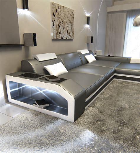 Big Sofa Mit Led Modern Leather Sectional Sofa Prato L Shaped Illuminated
