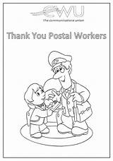 Postal Thank Colouring Sheets Cwu Workers sketch template