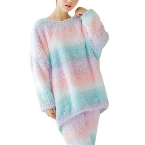 Pajamas Women Winter Warm 2 Piece Set Women Sleepwear Sets