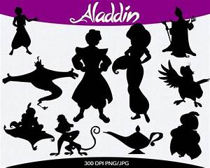 Aladdin instant download silhouette cilipart by for Aladdin and jasmine on carpet silhouette