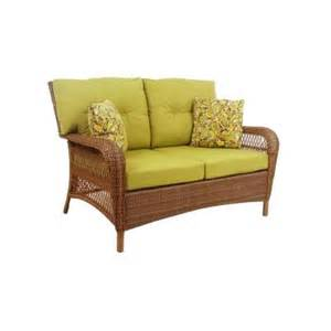 martha stewart living charlottetown brown all weather wicker patio loveseat with green bean