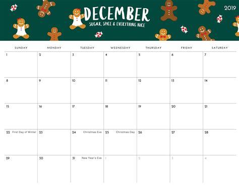 daily calendar  december  template printable