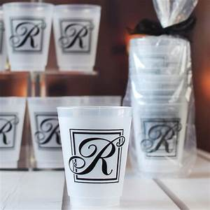 16 oz reusable majestic initial frosted plastic cups set for Monogram letters for cups