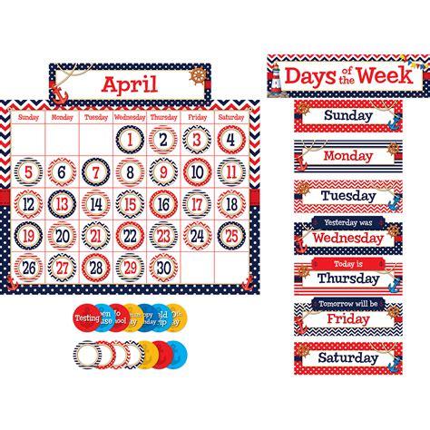 Bulletin Board Calendar Template by Nautical Calendar Bulletin Board Display Set Tcr5492