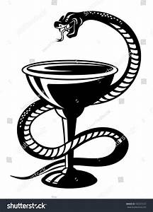 Medicine Symbol - Snake On Cup In Retro Style, Such Logo ...