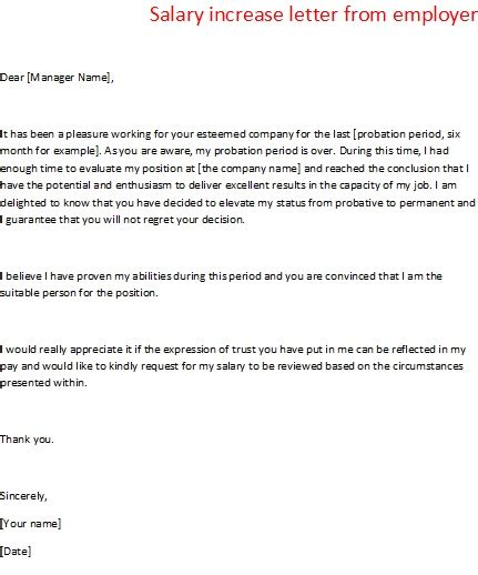 salary increase letter  employer