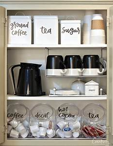 Organized coffee cabinet with printable labels for Best brand of paint for kitchen cabinets with sticker labels for bottles