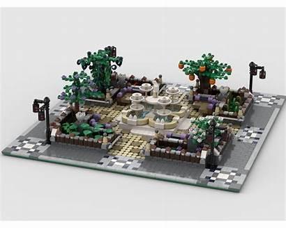 Moc Park Fountain Lego Mocs Rebrickable Build