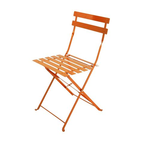 2 metal folding garden chairs in orange guinguette