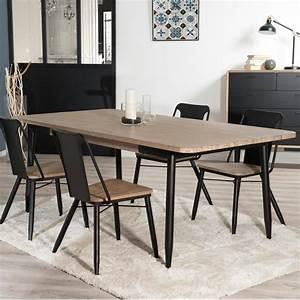 Table Noir Et Bois : table manger industriel noir et bois olana so inside ~ Teatrodelosmanantiales.com Idées de Décoration