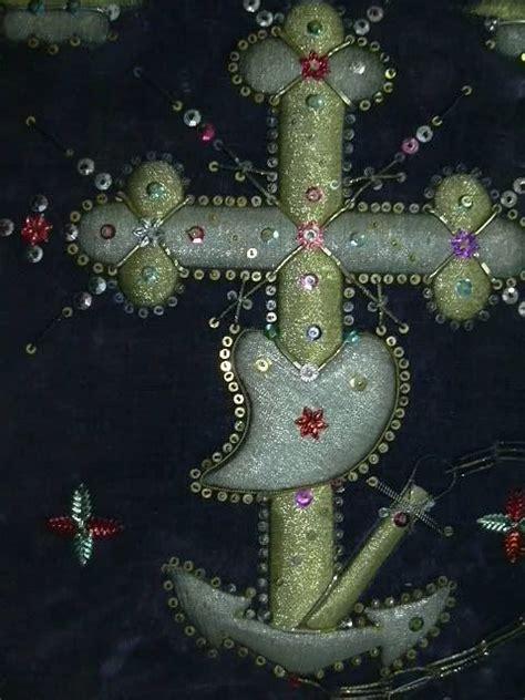 faith hope charity religious icon textile stump work