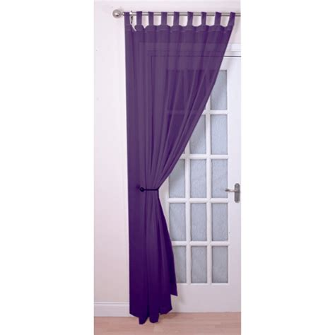 tab top voile panels pair finished in purple