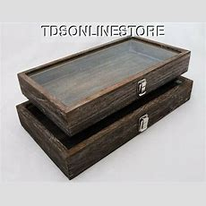 Rustic Wood Glass Top Display Cases Antique Coffee Color