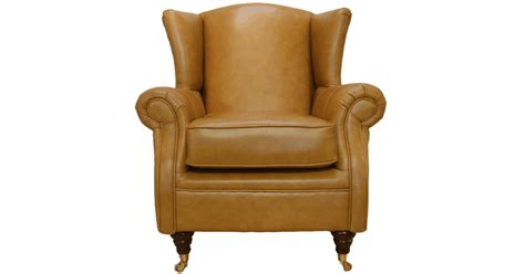 Wing Chair Fireside High Back Leather Armchair Caramel Leather