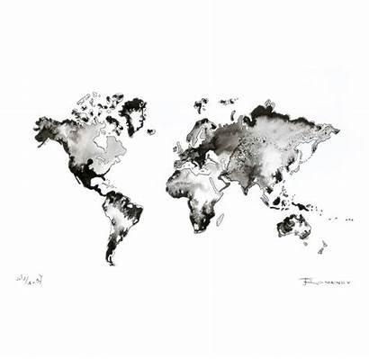 Map Watercolor Abstract Ink Wall Painting Artwork