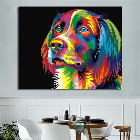 paintgo abstract colorful dog diy paint  number kit